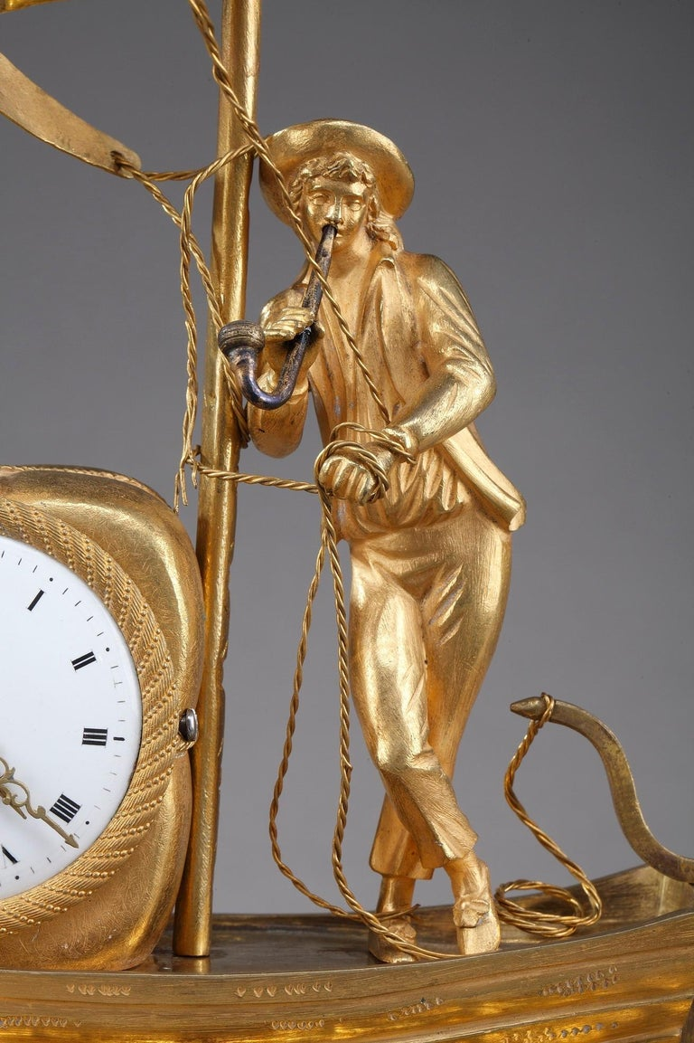 Early 19th Century Empire Ormolu Clock The Sailor In Good Condition For Sale In Paris, FR