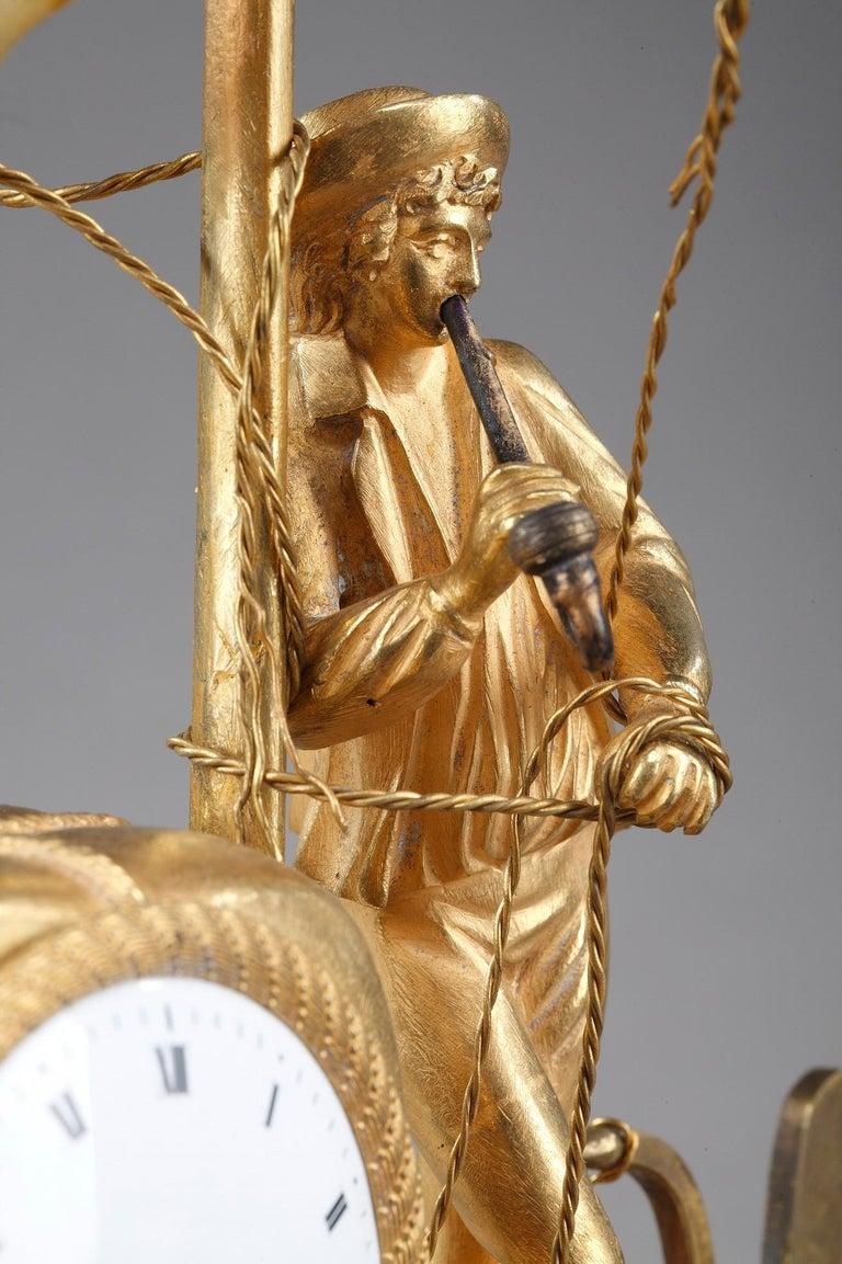Bronze Early 19th Century Empire Ormolu Clock The Sailor For Sale