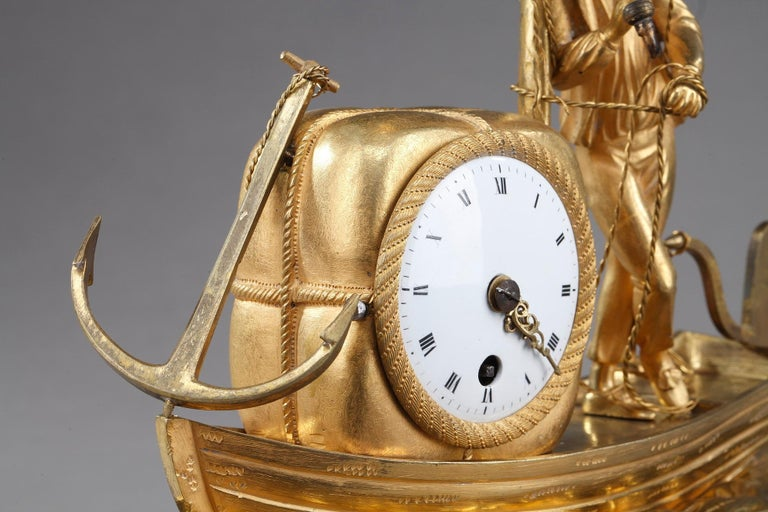 Early 19th Century Empire Ormolu Clock The Sailor For Sale 1
