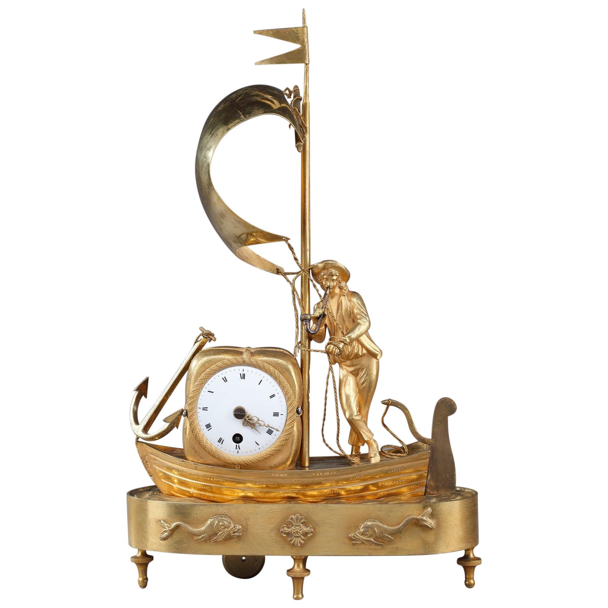 Early 19th Century Empire Ormolu Clock The Sailor