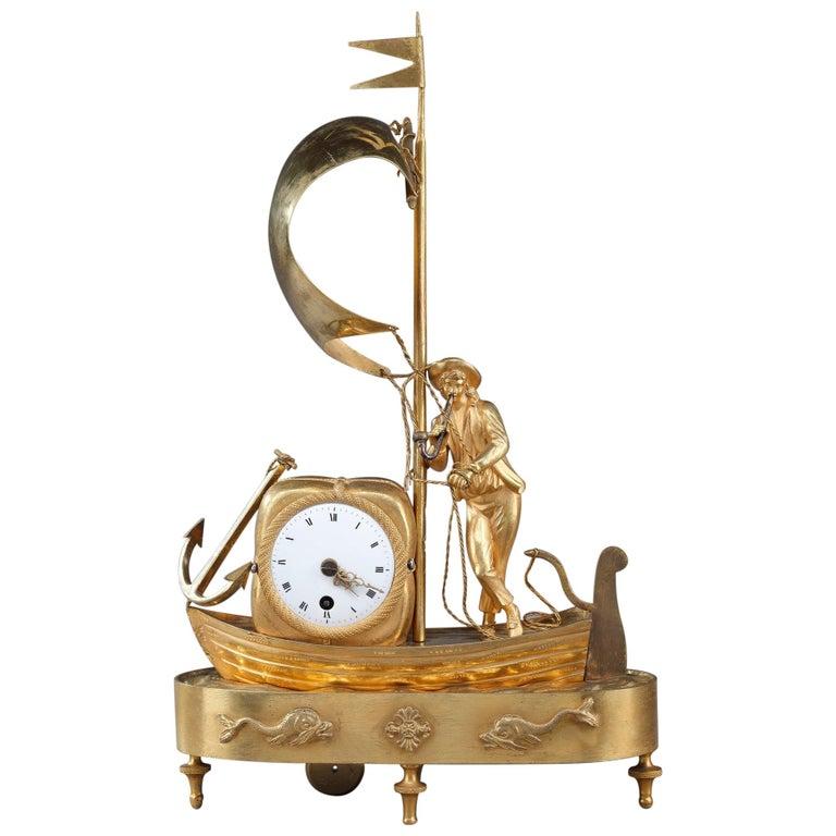 Early 19th Century Empire Ormolu Clock The Sailor For Sale