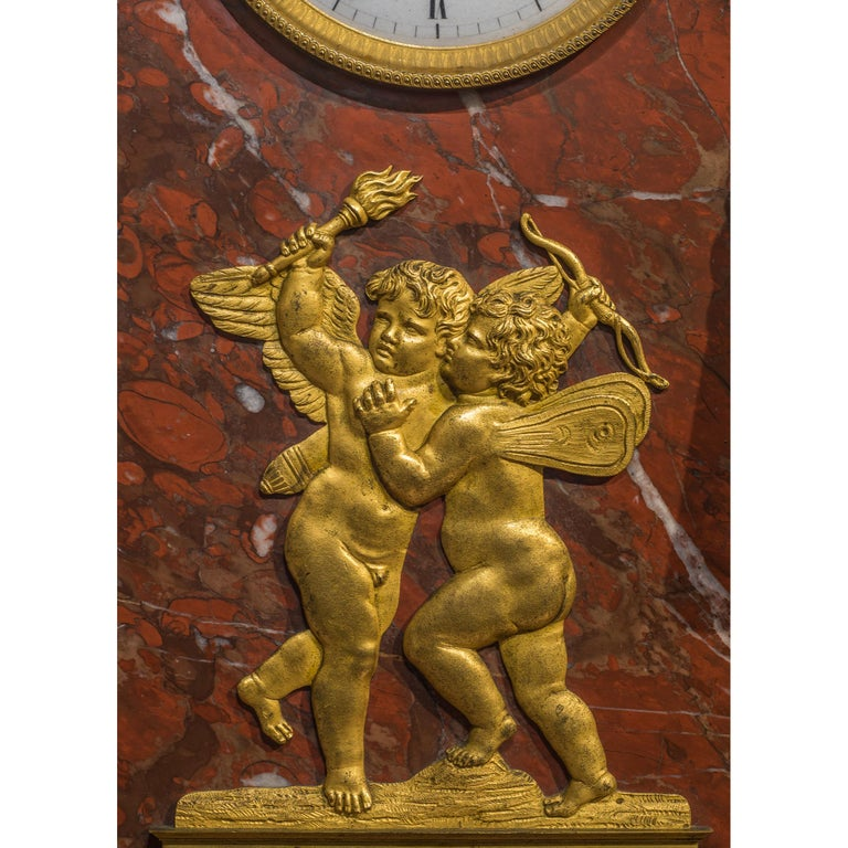 Early 19th Century Empire Ormolu-Mounted Bronze and Marble Mantel Clock For Sale 3