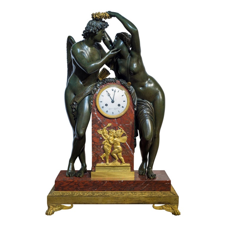 Early 19th Century Empire Ormolu-Mounted Bronze and Marble Mantel Clock For Sale