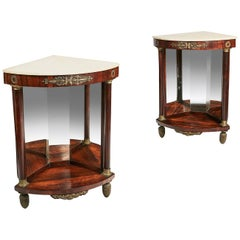 Early 19th Century Empire Pair of Marble Topped Corner Console Tables