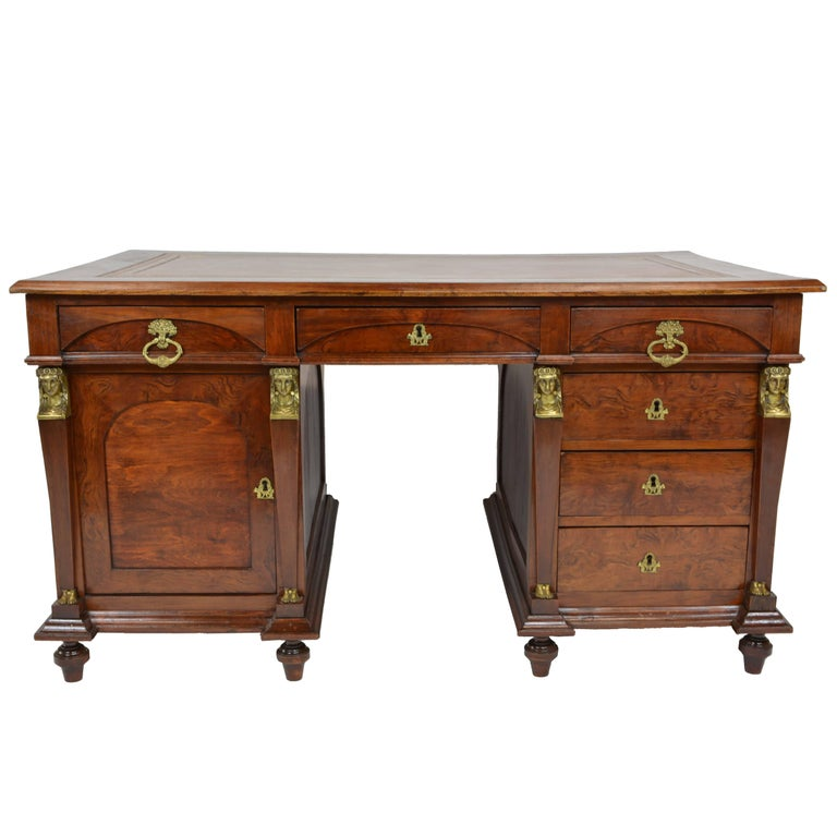 Early 19th Century Empire Style Leather Top Desk