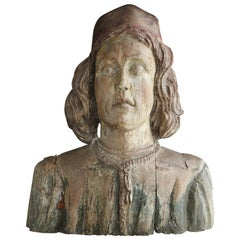 Early 19th Century English Carved Figurehead Depicting the Head of a Merchant