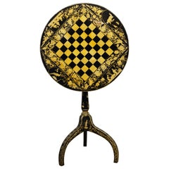 Early 19th Century English Chinoiserie Pen Work Chess Board Tilt Top Game Table