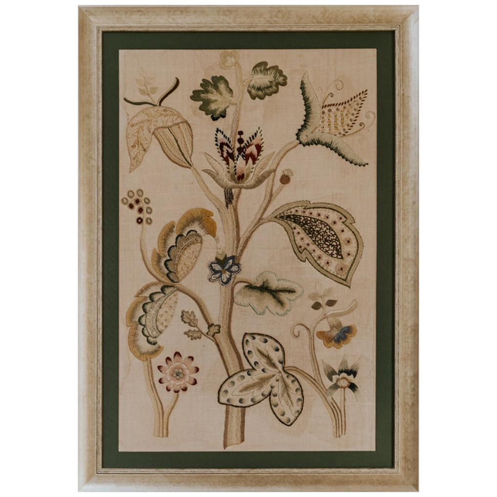 Early 19th Century English Crewelwork, Contemporary Framed