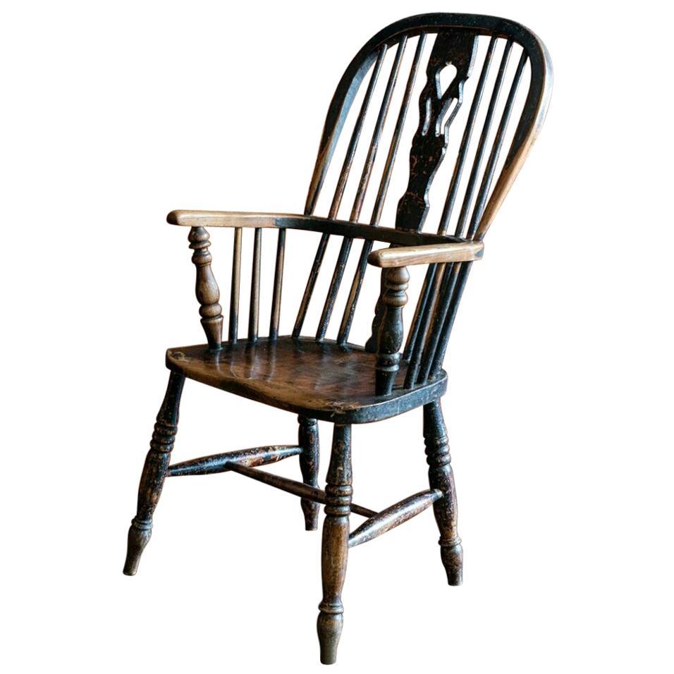 Early 19th Century English Ebonized Windsor Hoop Back Chair