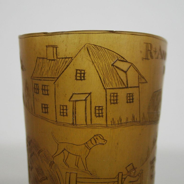 Early 19th Century, English Engraved Horn Cup For Sale 5