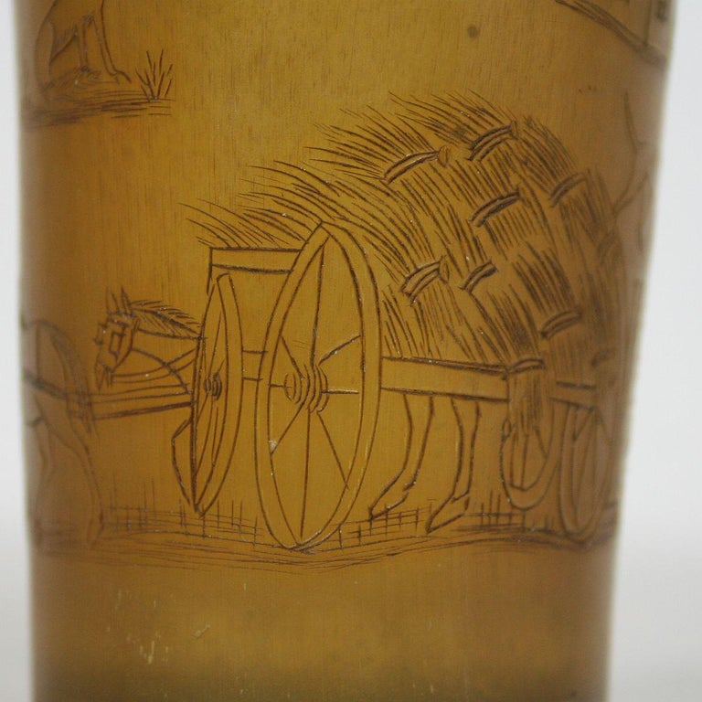 Early 19th Century, English Engraved Horn Cup For Sale 10