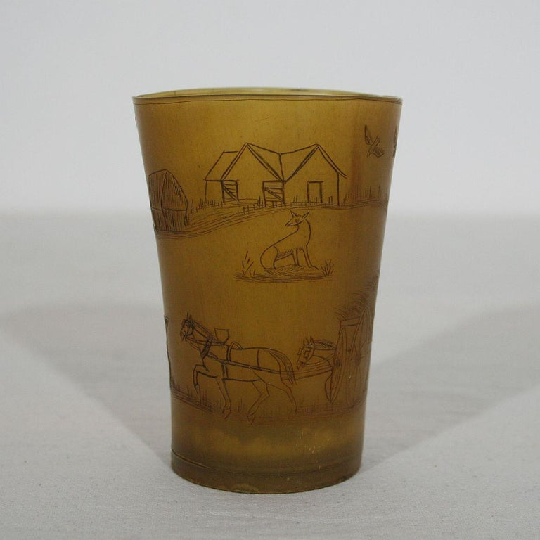 Beautiful Folk Art engraved horn cup