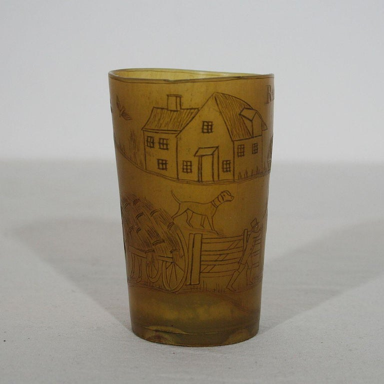 Folk Art Early 19th Century, English Engraved Horn Cup For Sale