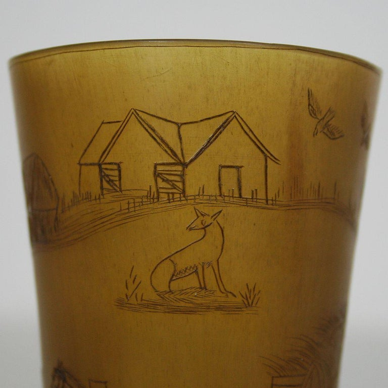 Early 19th Century, English Engraved Horn Cup For Sale 3
