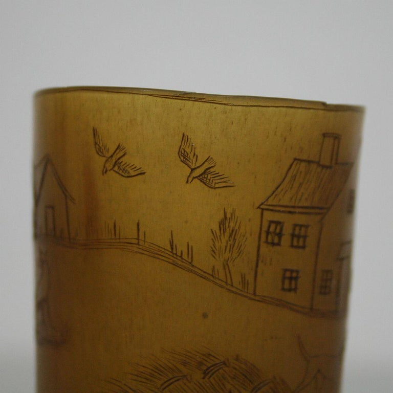 Early 19th Century, English Engraved Horn Cup For Sale 4