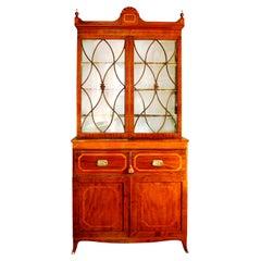 Early 19th Century English Hepplewhite Regency Secretary Bookcase and Cabinet