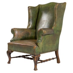 Early 19th Century English Leather Wing Armchair