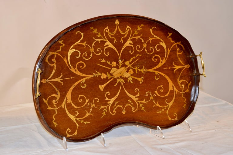 Early 19th Century English Mahogany Inlaid Tray In Good Condition In High Point, NC
