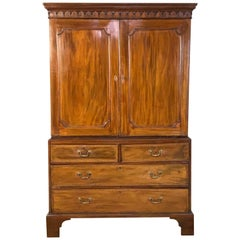 Early 19th Century English Mahogany Linen Press