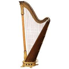 Early 19th Century English Maple and Gilt Bronze Double-Action Harp by J. Erat