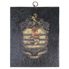 Early 19th Century English Oil on Board Armorial Coat of Arms Coach Panel