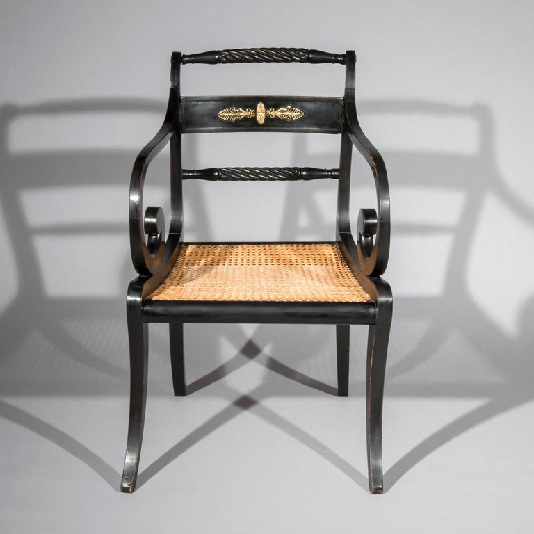 Early 19th Century English Regency Black Painted Klismos Desk Chair Armchair In Good Condition In London, GB
