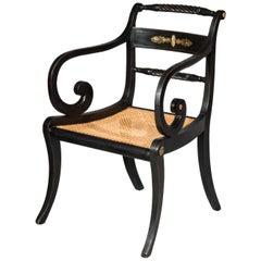 Early 19th Century English Regency Black Painted Klismos Desk Chair Armchair