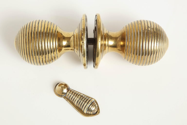 Brass Early 19th Century English Regency Door Knobs with Escutcheon For Sale