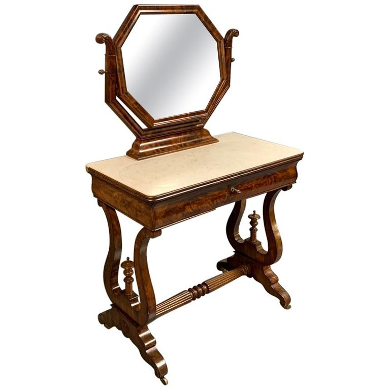 Early 19th Century English Regency Dressing Table with Original Marble