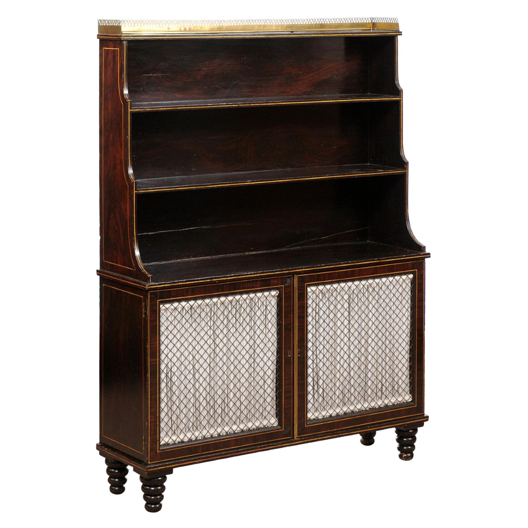 Early 19th Century English Regency Faux Grain Painted Chiffoniere / Bookcase