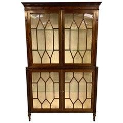 Early 19th Century English Regency Mahogany Astragal Glazed Bookcase Cabinet