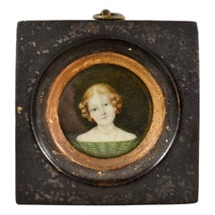 Early 19th Century English Regency Miniature Portrait Young Woman in Green Dress
