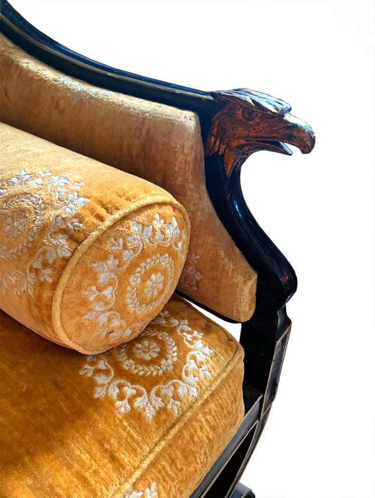 Velvet Early 19th Century English Regency Neoclassical Parcel-Gilt Sofa For Sale