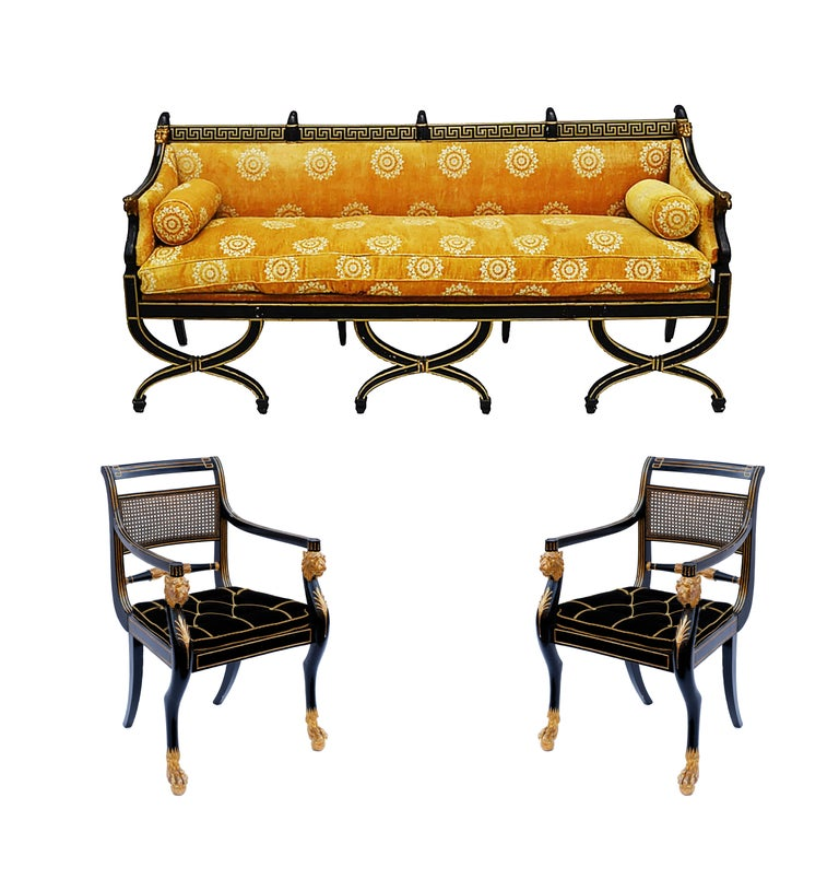 Early 19th Century English Regency Neoclassical Parcel-Gilt Sofa For Sale 1
