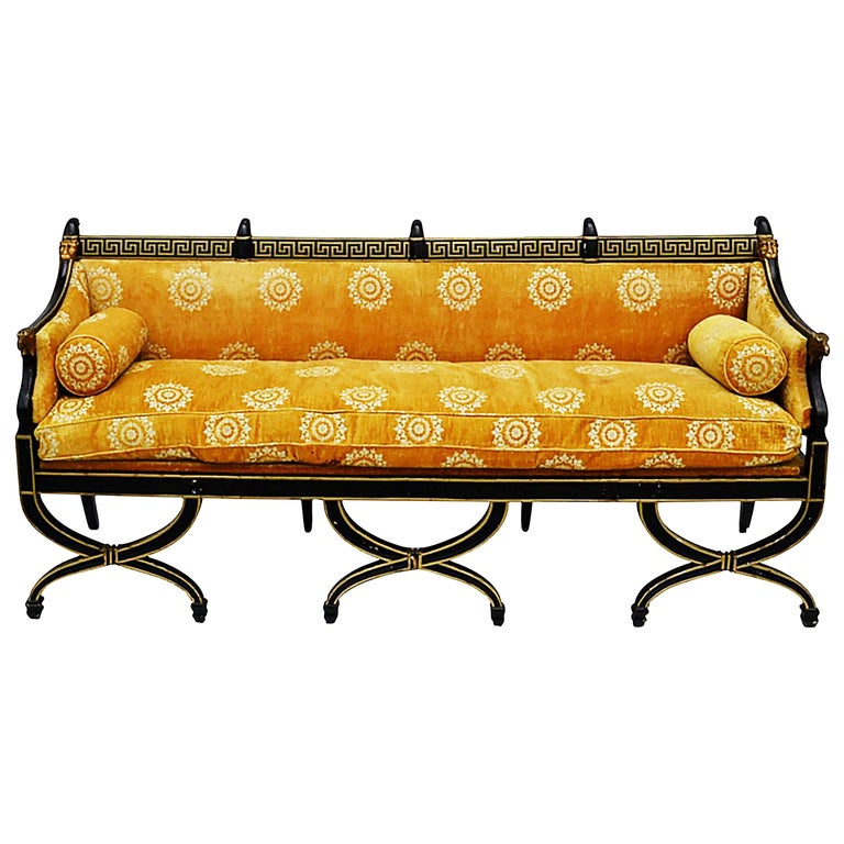 Early 19th Century English Regency Neoclassical Parcel-Gilt Sofa For Sale