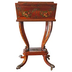 Early 19th Century English Regency Painted Rosewood Workbox, Circa 1790