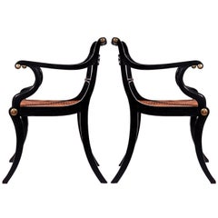 Early 19th Century English Regency Pair of Black Klismos Armchairs