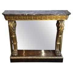 Early 19th Century English Regency Parcel-Gilt Console with Marble Top