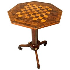 Early 19th Century English Regency Rosewood and Brass Inlaid Games Tripod Table