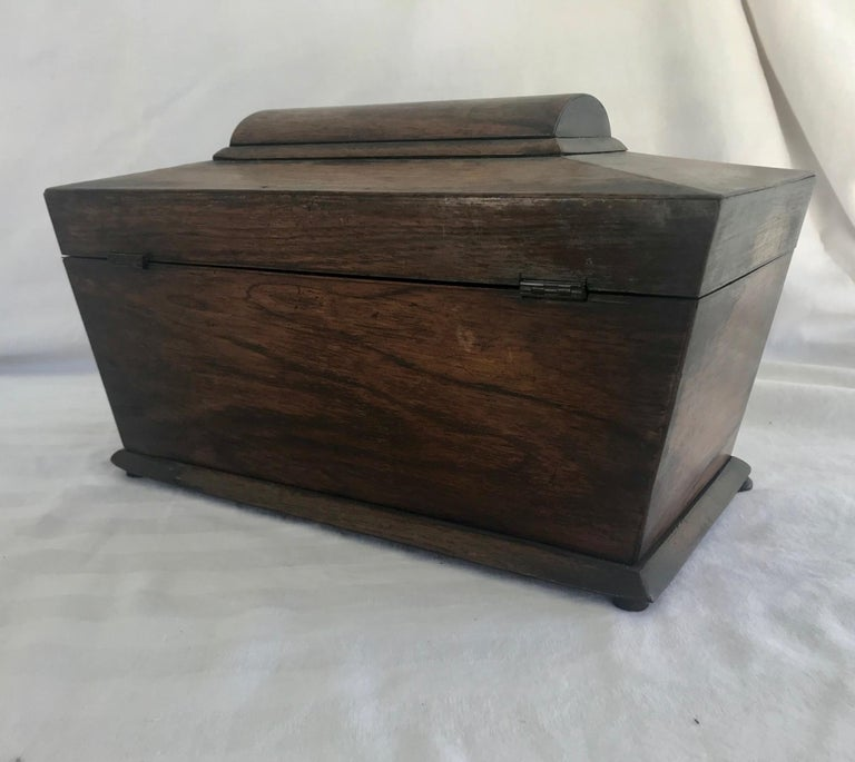 Early 19th Century English Rosewood Tea Caddy For Sale 6
