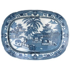 Early 19th Century English Staffordshire Blue and White Platter