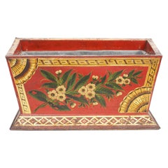 Early 19th Century English Tole Jardinière Painted with Flowers on Red Ground
