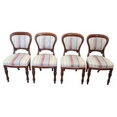 Early 19th Century English Victorian Carved Mahogany Set of Four Antique Chairs