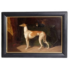 Early 19th Century English Whippet Oil Painting