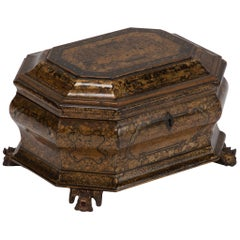 Early 19th Century Export Lacquer Box on Carved Feet from China