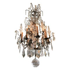 19th C. Exquisite Baccarat Crystal Chandelier ceiling light pendant antiques LA