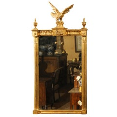 Early 19th Century Federal Giltwood Mirror with Eagle Crest
