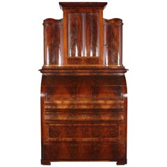 Early 19th Century Flame Mahogany Biedermeier Cylinder Roll Desk Secretary