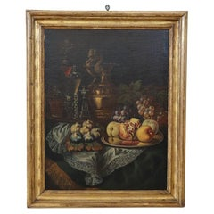 Early 19th Century Flemisch Oil on Canvas Still Life Painting with Frame
