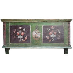 Early 19th Century Floral and Figure Italian Painted Bridal Chest